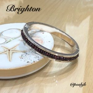 Brighton Hinged Bangle Oval Crystal Vintage Silver